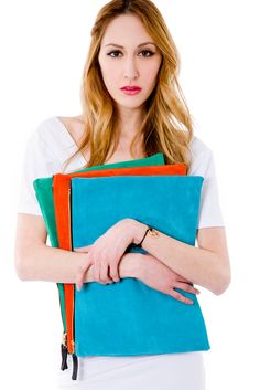 Marketa NYC -  this is what we are waiting for, so exciting, such a pop of colour. Image of Portfolio Clutch - Tangerine