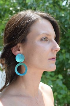 Disc Earrings Dangle with large geometric designs a pair of titanium earrings for women with bold taste Circle Earrings, Blue Earrings, Statement Earrings, Dangle Earrings, Geometric Jewelry, Geometric Designs, Conch Earring, Greek Jewelry, Titanium Jewelry