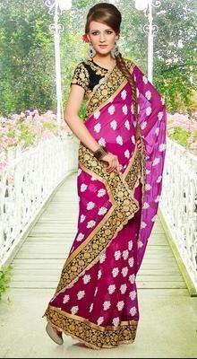 Magenta Embroidered Saree