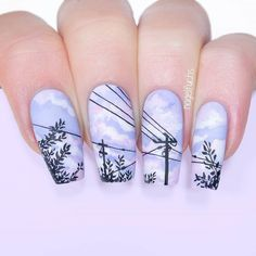 Lavender Sky and Power Line Nails by nagelfuchs Summer Acrylic Nails, Best Acrylic Nails, Cute Acrylic Nail Designs, Nail Art Designs, Anime Nails, Lines On Nails, Super Cute Nails, Kawaii Nails, Crazy Nails