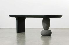 Furniture with natural stone base - Byung-Hoon Choi. Inspired by the megalithic stones, this bench is modern and sleek while still holding on to its historic inspired roots. Zen Furniture, Furniture Dining Table, Design Furniture, Studio Furniture, Furniture Dolly, Furniture Stores, Dining Room, Cozy Room, Furniture Inspiration