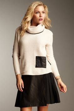 Leather Pocket Sweater and skirt