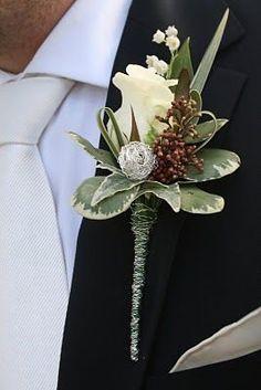 White Rose, beads, and Pittosporun - Flower Design Buttonhole & Corsage Blog: Colour White