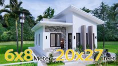 White House Floor Plan 6x8 Meter 20x27 Feet - Pro Home DecorZ House Layout Design, Small House Design, House Layouts, One Level House Plans, Small House Plans, House Floor Plans, Simple Bungalow House Designs, Modern Bungalow House, One Storey House