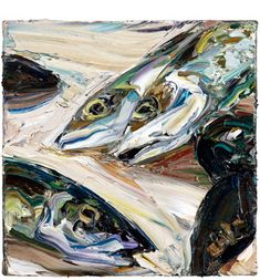 Still life (mackerel and mussels) 2011  Oil on Belgian linen 31x41cm  Nicholas Harding