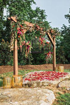 bohemian ceremony arch - photo by Amilia Photography http://ruffledblog.com/cheery-bohemian-wedding-inspiration-at-a-rock-quarry
