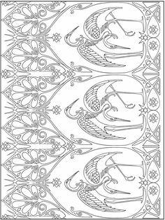 Creative Haven Art Nouveau Nature Designs Coloring Sheets Motif Art Deco, Art Nouveau Pattern, Art Nouveau Illustration, Coloring Book Pages, Coloring Sheets, Art Plastique, Embroidery Art, Line Drawing, Line Art