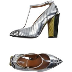 Fendi Court ($1,160) ❤ liked on Polyvore featuring shoes, pumps, silver, leather shoes, leather sole shoes, leather footwear, buckle shoes and fendi shoes