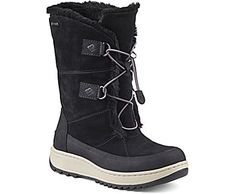 SPERRY Powder Valley winter boot w Arctic grip...best boot of 2017; Crafted in Waterproof Suede that is Fully Seam Sealed  Lined in Thinsulate and Faux Fur for Warmth in Cold Weather  Signature Rawhide Lacing  Vibram Outsole with Arctic Grip Technology for Superior Traction in Inclement Weather  Non-Marking Rubber Outsole with Wave-Siping for Ultimate Wet/Dry Traction
