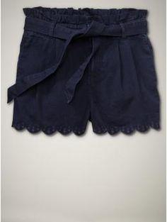Scalloped eyelet jean shorts