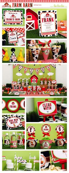 ♥ Farm Barn Birthday Party Theme ♥ Shop Here: https://www.etsy.com/shop/LeeLaaLoo/search?search_query=b112order=date_descview_type=galleryref=shop_search ✿  Party Styling: LeeLaaLoo - www.leelaaloo.com ✿ Party Print able Design  Decoration: LeeLaaLoo - www.etsy.com/shop/leelaaloo