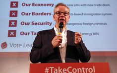 Justice Secretary Michael Gove talks to supporters during a Vote Leave rally on…