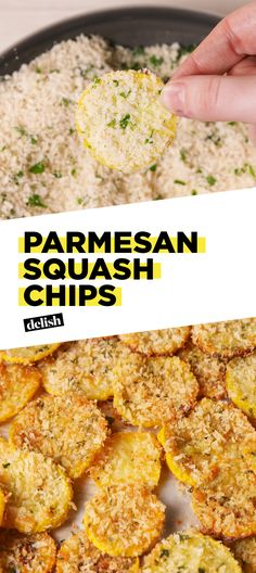 Parmesan Squash Chips will hands-down be your new favorite snack. Get the recipe at Delish.com. #recipe #easyrecipe #easy #snack #appetizer #squash #summer #chips #cheese #creamcheese #vegetable #veggies