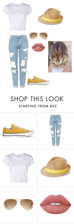 """""""a bit yellow"""" by gyorgyvanda on Polyvore featuring Converse, Topshop, RE/DONE, Steve Madden, Ray-Ban and Lime Crime"""