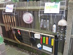 let the children play: Simple Play Space Transformations: Sound Makers dollar store kitchen supplies used to make a great sound wall for outdoor play. Outdoor Learning Spaces, Outdoor Play Areas, Outdoor Fun, Eyfs Outdoor Area, Outdoor Toys, Outdoor Classroom, Outdoor School, Reggio Emilia, Sound Wall