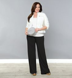 Plus Size Black Palazzo Pants at www.curvaliciousclothes.com Sizes 0X-5X Be stylish and relaxed in our Peyton Palazzo Pants. These wide-leg pants are made of a soft knit jersey material that has a wonderful gaucho-like drape that falls away from the body as not to cling. A fully ruched waistband gives you a comfortable and flattering fit for all body shapes.