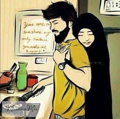 I may not have a peaceful life far from you Muslim Couple Quotes, Cute Muslim Couples, Cute Couples, Muslim Couple Photography, Islam Marriage, Islamic Cartoon, Cute Couple Cartoon, Muslim Family, Anime Muslim