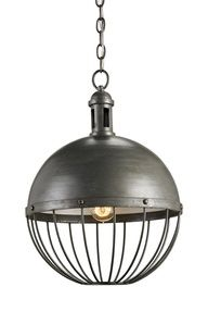 This spherical pendant light from Currey and Company could be considered industrial or nautical! How would you use it?