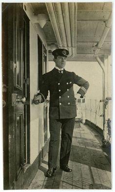 c1920s Photo SS Harold Dollar Steamship Merchant Marine Officer Bill on Deck