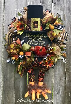 Fall Wreath Thankful & Blessed Turkey by Holiday Baubles