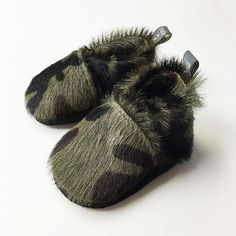 The cutest leather camo moccs. #madeincanada #babystyle