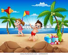 "Stock vektor ""Cartoon Little Children Playing Kites On"" (bez autorských poplatků) 1249403578 Arte Pop, Portfolio, Kite, Tinkerbell, Surfing, Photos, Cartoon, Disney Princess, Disney Characters"