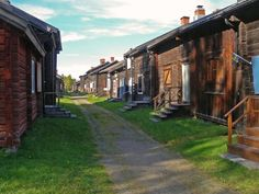 """Skelleftea, Sweden.  This """"Church Town"""" is known as """"Bonnstan.""""  It was built, between 1830 and 1840, by families who lived a distance away and needed a place - a temporary home, in other words - to spend the night."""