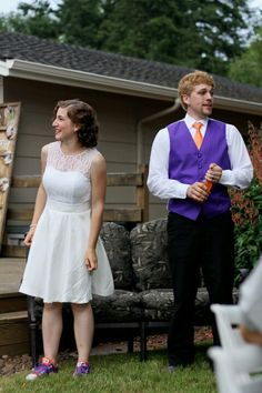 Purple and orange wedding white party dress. Simplicity Pattern. Photo by Becky Hart - Event Crush