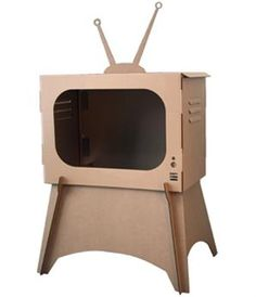 making this (our paired down version, at least) today with our leftover cardboard boxes from Ikea~ had to show the kids what an old fashion tv actually looks like.