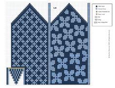 Double Knitting Patterns, Crochet Mittens Free Pattern, Fair Isle Knitting Patterns, Knitting Charts, Knit Mittens, Crochet Chart, Knitted Gloves, Knitting Stitches, Knitting Designs