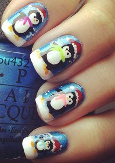 PENGUINS christmas #nail #nails #nailart
