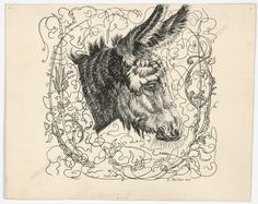 E Mediz Pelikan Donkey, signed pen and ink magnificent piece by this important artist Previously sold at IM Therefore Fine Art & Manuscripts Donkey, Moose Art, Ink, Fine Art, Artist, Animals, Animales, Animaux, Donkeys