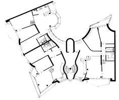 Viviendas Fraenkelufer | Hinrich & Inken Baller | Berlin; Alemania | 1984 Hans Scharoun, Block Plan, Building Concept, Curved Walls, Plan Drawing, Architecture Drawings, House Layouts, Photoshop, Floor Plans