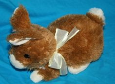 Old Ty Stuffed Animals 2009 | Ty Classic Bunny Rabbit Brown Cream Easter Bow 2009 Plush Stuffed ...