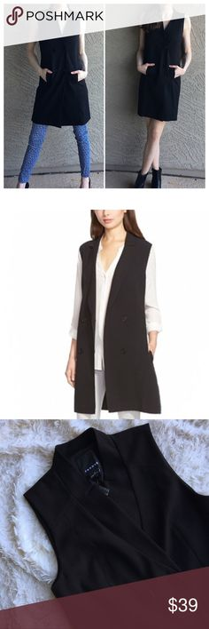 """Double Breasted Longline Vest Double breasted longline Vest. Can be layered over anything or worn as a tuxedo dress. Length: 36"""", Pit to pit: 17"""" ✨OFFERS WELCOME✨ Trouve Jackets & Coats Vests"""