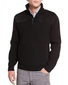 Brioni Half Zip Pullover Sweater with Suede Trim Black 56 Black | Clothing
