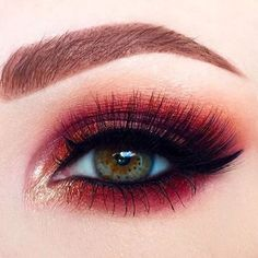Red and gold smokey eye makeup #eyes #eye #makeup #bright #bold #dramatic