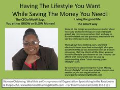 """Women Obtaining Wealth Blog Pic Post on the """"Clean Money Green Lifestyle"""". Join us today! www.WomenObtainingWealth.com Where we assist the passionate and purposeful!"""
