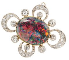 Celestial Skyscape: Black Opal Diamond Pendant, circa 1910