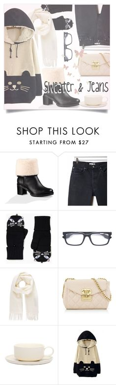 """Sweater & Jeans"" by shredded-silk ❤ liked on Polyvore featuring UGG, RE/DONE, Kate Spade, Kiton, Vivienne Westwood, Love Moschino, Jansen+Co and WithChic"