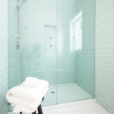 Blue Glass Subway Tiles, Contemporary, bathroom, Courtney Blanton Interiors