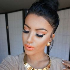 I like the way how it looks the orange eye makeup. Flawless Makeup, Gorgeous Makeup, Pretty Makeup, Love Makeup, Makeup Inspo, Makeup Inspiration, Makeup Tips, Makeup Looks, Makeup Ideas