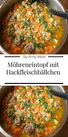 Carrot stew with meatballs - Einfache Rezepte - Vegetable Soup Healthy, Healthy Soup, Vegetable Dishes, Roasted Tomato Basil Soup, Roasted Tomatoes, Soup Recipes, Vegetarian Recipes, Healthy Recipes, Going Vegan