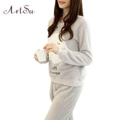ArtSu Winter New Thickened Cute Sleeping Owl Coral Fleece Pajamas Home  Furnishing Suit Coral Velvet Home Wear Leisure Wear 9123 a69da5ae6