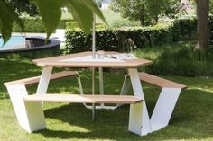 Introducing Anker (anchor in Dutch), a triangular picnic table that comfortably seats up to six Popeyes! Looking at the corner face of the table, you clearly see where we got the name. The Anker picnic table has an awesomely eye-catchin. Tropical, Interior And Exterior, Garden Design, Design Inspiration, Landscape, City, Projects, Outdoor, Furniture