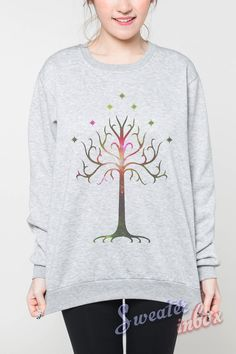 Tree of Gondor Jumper The Lord of the Rings Tshirt Long Sleeve Sweatshirts Women Grey Unisex Sweater Shirt T-Shirt Size S M L on Etsy, $23.99