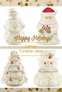 Store Holiday Cookies And Candies While Adding A Cheery Touch To Your Table  With Festive Lenox Santa Treat, Christmas Tree, Snowman, Jar Hand Painted  In ...