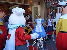 "Alice and characters from her movie host ""Disneyland Musical Chairs"" at Coca-Cola Refreshment Corner, accompanied by a ragtime pianist. Best Disney Costumes, Adult Costumes, Disney On Ice, Disney Live, Brown Accent Chair, Accent Chairs, Disneyland Hotel, Hero Movie, Mid Century Dining Chairs"