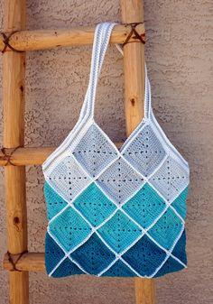 Granny Square Crochet Blue Squares Cotton Crochet Beach Bag Market by CeraBoutique - Crotchet Bags, Crochet Beach Bags, Crochet Market Bag, Crochet Tote, Crochet Handbags, Crochet Purses, Cotton Crochet, Knitted Bags, Crochet Granny