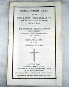 Bob Marley's funeral program in Kingston, Jamaica in the ORTHODOX church.